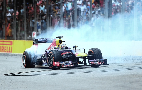 Picture Smoke, Brazil, Formula 1, Vettel, Champion, Red bull, Donut, Interlagos