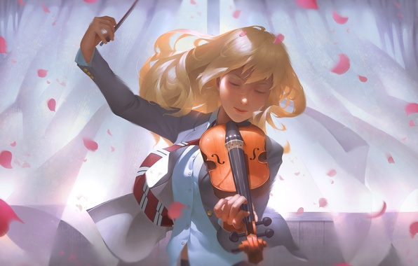 Picture girl, music, violin, petals, art, blonde, tie