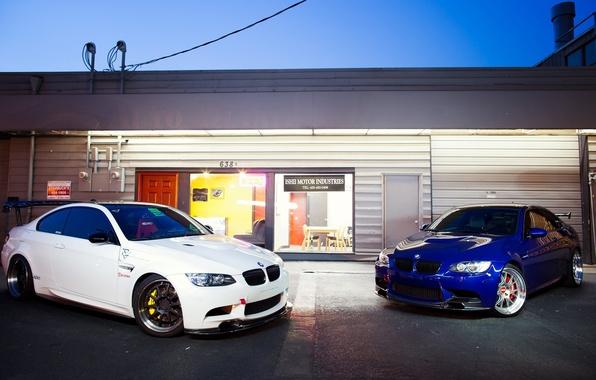 Picture white, blue, bmw, BMW, white, blue, shop, showcase, e92, wing