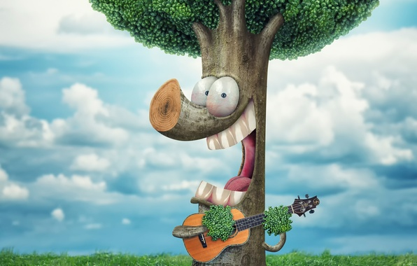Picture tree, guitar, humor, song