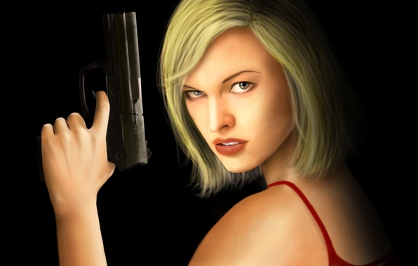 Picture look, girl, gun, haircut, black background, Resident Evil, Milla Jovovich, Alice