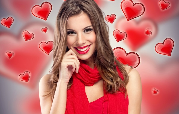 Picture girl, smile, background, mood, makeup, hairstyle, hearts, brown hair, scarf, in red