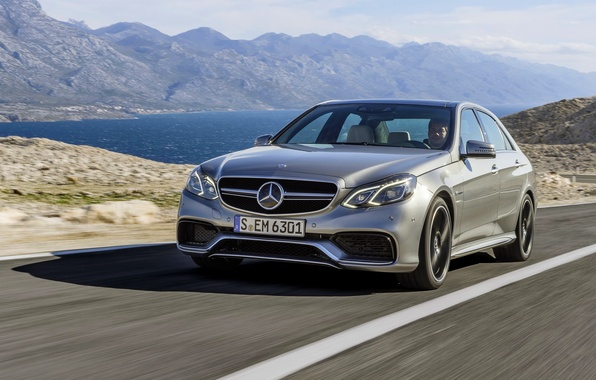 Picture Mercedes-Benz, Auto, Road, Mountains, Lake, Mercedes, AMG, the front, E63