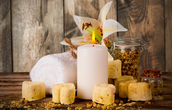 Picture flowers, towel, soap, relax, soap, flowers, Spa, still life, candle, spa, wellness