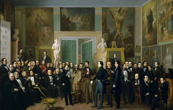 Photo wallpaper picture, genre, hall, Antonio María Esquivel, Contemporary Poets Reading Corelli in the Artist's Studio, people