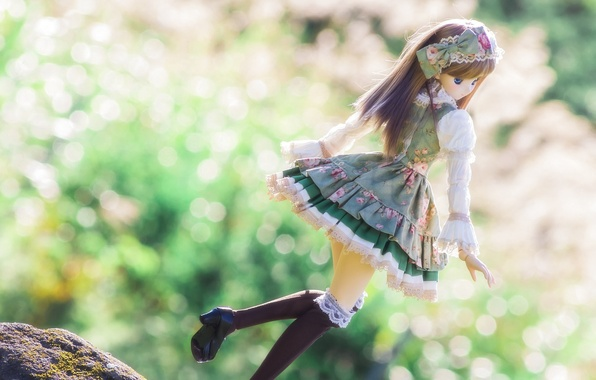 Picture nature, pose, toy, doll, bokeh