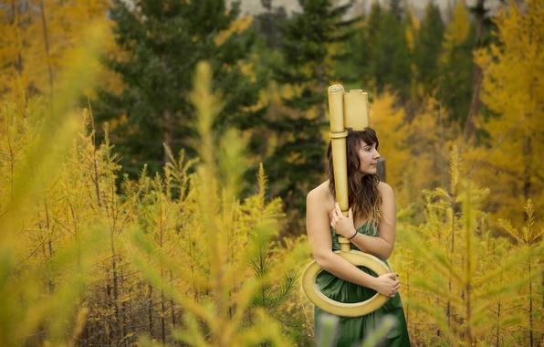 Picture autumn, forest, girl, key, Everlasting Light