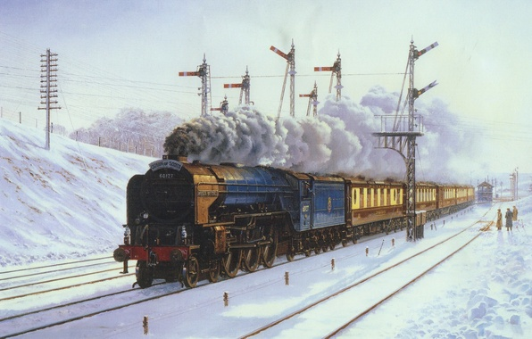 Picture winter, snow, landscape, people, train, the engine, picture, cars, canvas, stop