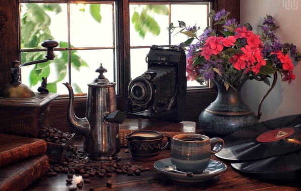 Picture flowers, retro, books, coffee, bouquet, window, the camera, vinyl, still life, records, coffee grinder, coffee …