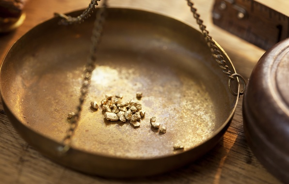 Picture metal, gold, weighing, mineral