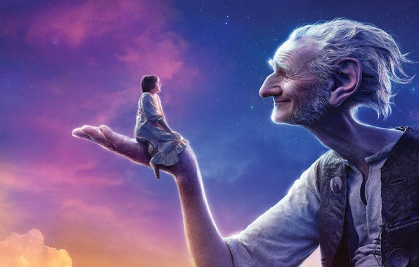 Photo wallpaper The, Beautiful, White, 2016, Amblin Entertainment, Old man, Hair, Young, Giant, Sunshine, Walt Disney Pictures, ...