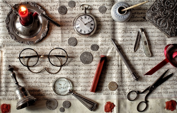 Picture letter, watch, candle, glasses, coins, knife, still life, magnifier, bell, scissors