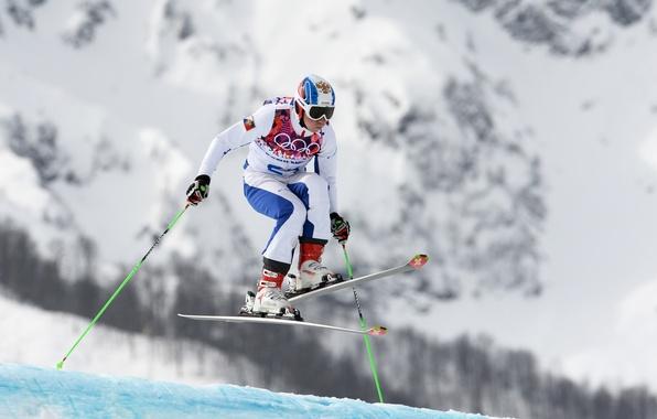 Picture snow, mountains, ski, stick, Russia, RUSSIA, Sochi 2014, The XXII Winter Olympic Games, Sochi 2014, …
