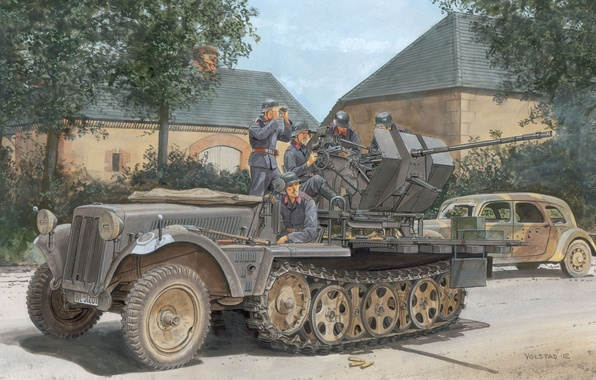 Picture figure, art, soldiers, The second world war, readiness, German, APC, Flak30, anti-aircraft, half-track, shooting, SdKfz10/4, …