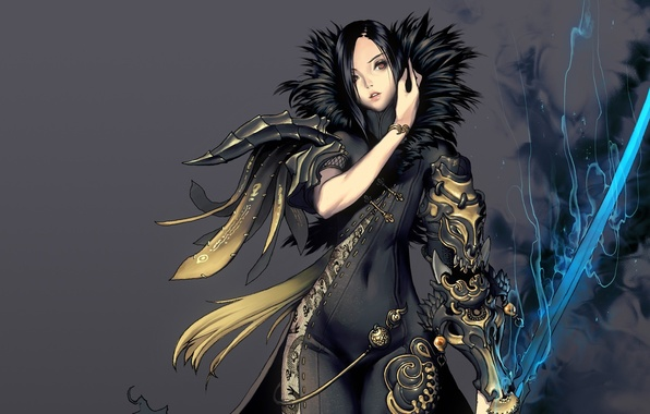 Picture girl, sword, brunette, outfit, blade and soul