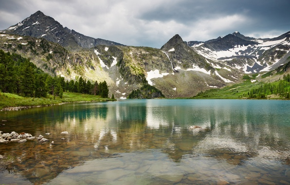 Picture mountains, forest, pond, great