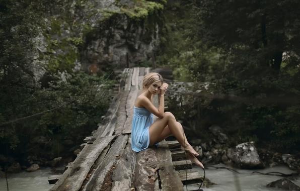 Picture look, girl, bridge, dress, legs