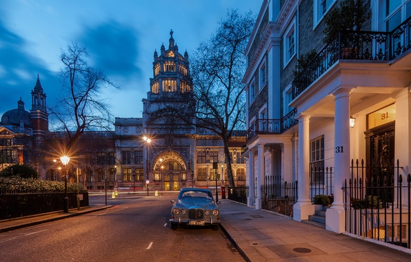 Picture road, machine, the city, England, London, building, home, the evening, lighting, lights, UK, architecture, London, …