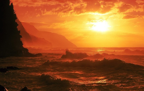 Picture sea, wave, Sunset
