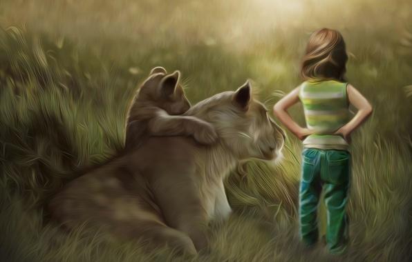 Picture grass, child, Leo, art, lioness, cub, back, lion