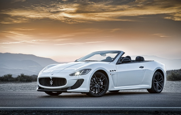 Picture Maserati, Road, White, Machine, Convertible, Maserati, Car, Car, Cars, White, Road, GranCabrio
