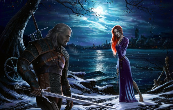 Picture girl, night, the moon, shore, sword, dress, red, rpg, geralt, Gwynbleidd, CD Projekt RED, The …