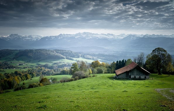 Picture The sky, Nature, Clouds, Meadows, Photo, Mountains, Grass, Trees, Forest, Horizon, House, Meadow, Glade, Hills, ...