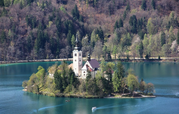 Picture mountains, lake, island, tower, home, Church, Slovenia, Slovenia, Lake, Bled, Bled