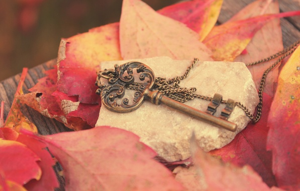 Picture autumn, leaves, metal, stone, key, red, Board, chain