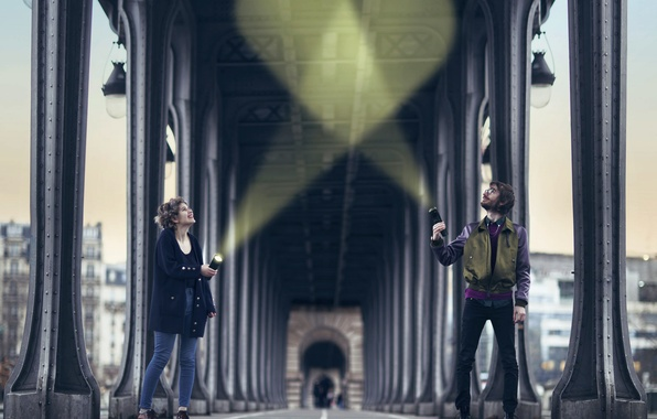 Picture girl, rays, heart, guy, lanterns, Vincent Bourilhon, Light your love