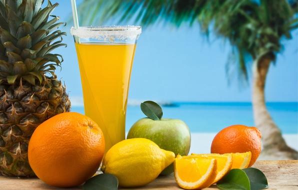 Picture sand, sea, the sky, Palma, lemon, glass, Apple, orange, juice, tube, fruit, pineapple, appetizing