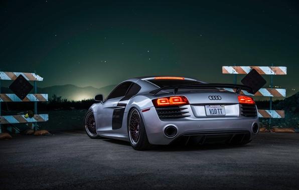 Picture Audi, Sky, Stars, V10, Custom, Silver, Sportcar, Spoiler, Rear