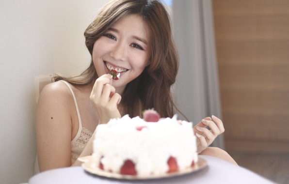 Picture girl, face, ideal, hair, strawberry, cake
