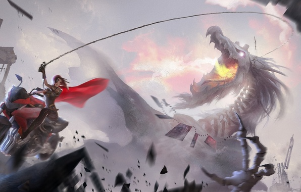 Picture girl, dragon, home, anime, art, chain, motorcycle, destruction, headband, cloak, lost elle