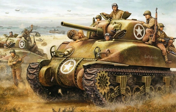 Picture figure, Normandy, tanks, landing, sherman, Operation Torch, Flames of War
