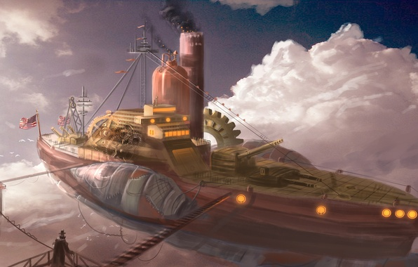 Picture the sky, the airship, airship, steampunk