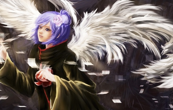 Picture flower, girl, paper, rose, wings, feathers, art, naruto, rosette, rikamello, konan