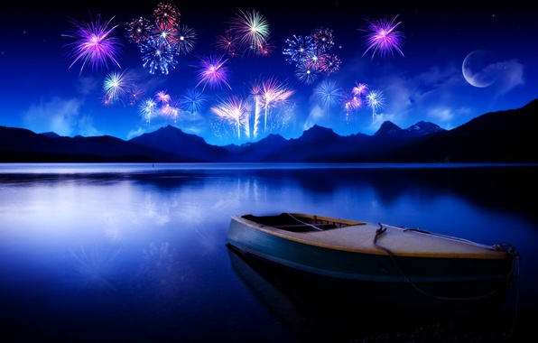 Picture the sky, water, mountains, night, lake, reflection, the moon, Boat, fireworks
