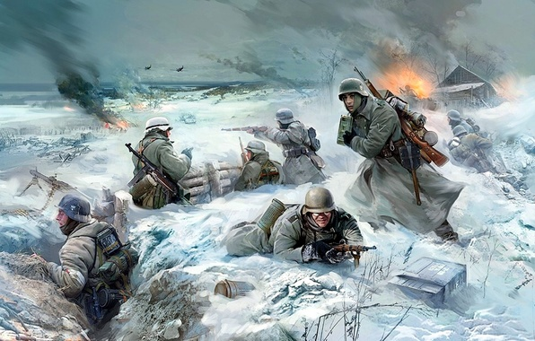 Picture war, battle, art, soldiers, the battle, the Germans, the Wehrmacht, WW2