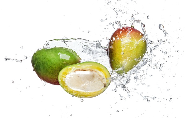 Picture water, squirt, white background, mango