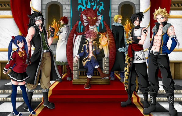 Picture fire, game, anime, fairy, asian, manga, Wendy, witch, japanese, Fairy Tail, Natsu Dragneel, Gajeel Redfox, ...
