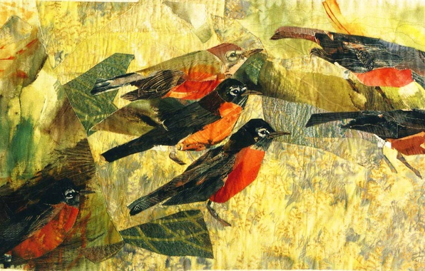 Picture birds, mosaic, mood, picture, Joan Colvin
