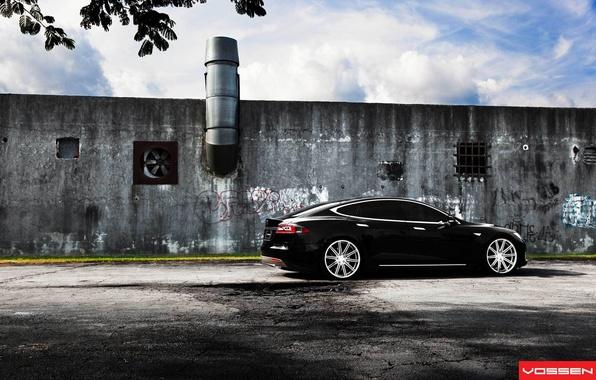 Picture black, Tesla, Model S, electric car
