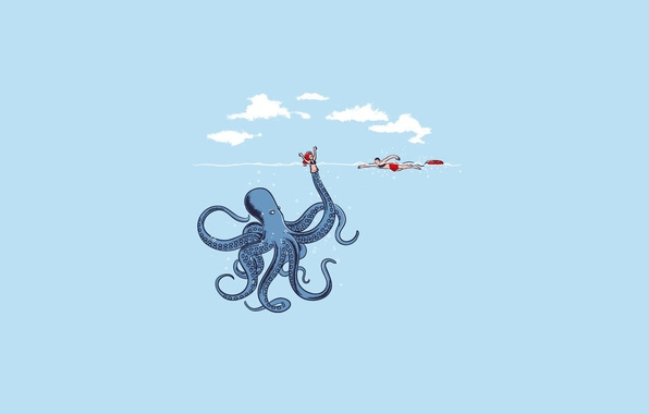 Picture sea, girl, doll, octopus, octopus, lifeguard