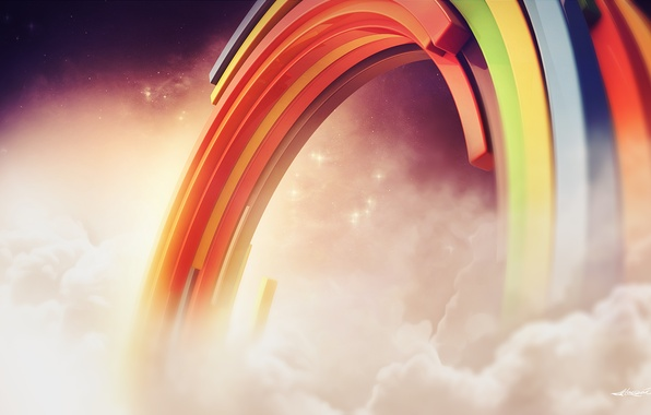 Picture clouds, rainbow, creative, render, links