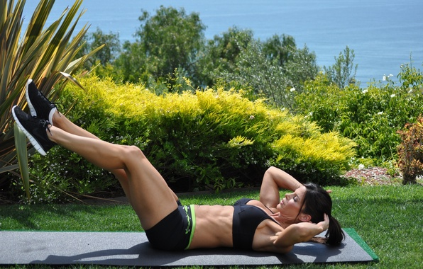 Picture grass, legs, brunette, shoes, pose, workout, fitness, outdoors, abs, hard work