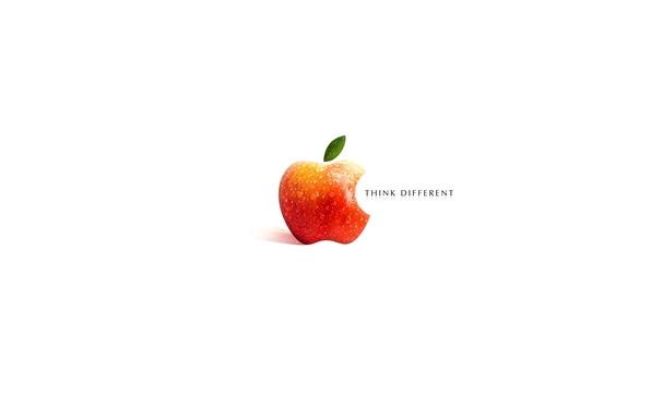 Picture the inscription, Apple, logo, white background, Widescreen, Original