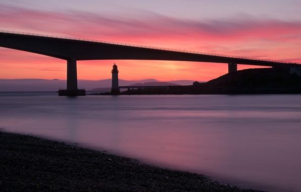 Picture sea, sunset, bridge, shore, lighthouse, the evening, Scotland, UK, calm
