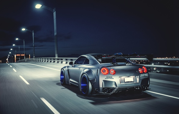 Picture Nissan, GT-R, Car, Speed, Tuning, Road, Wheels, Spoiler, Rear, Liberty Walk, Nigth, LB Perfomance