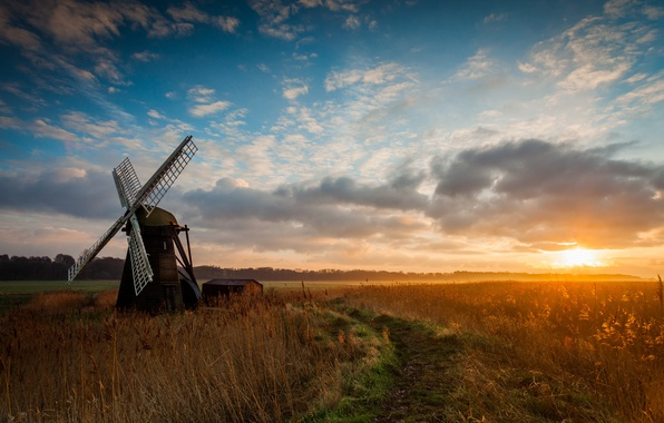 Picture field, sunrise, morning, mill, wind
